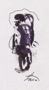 Daniel Vignal - Portrait Mélangé 3 - Encre Et Feutre Sur Canson Pastel - 28,8 X 16,2 Cm (11,3 X 6,3 Inches) - 1996 - Other Collections