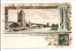 Worms. Ernst Ludwig Brücke. Wappen-Präge Druck Karte - Worms