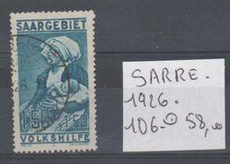 TIMBRES PLAQUETTE LOT DE L,ALLEMAGNE SARRE   Nr  106 OBLITERE    COTE 58  € - Allemagne