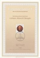 "Germania 1987 Sc. 1509 Ersttagsblatt N. 14 ""Johann Albrecht Bengel"" FDC Sheet  Teologo Pastore Luterano - Teologi"