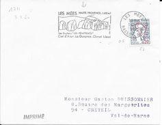 BASSES ALPES 06  -- LES MEES  - FLAMME N° 1711   - VOIR DESCRIPTION  -  1967 - - Postmark Collection (Covers)