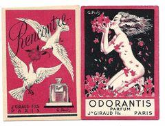 Carte Parfumée - J. GIRAUD Fils - Odorantis, Rencontre - Lot De 2 Cartes - TBE - Anciennes (jusque 1960)