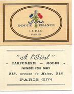 Carte Parfumée  - LUBIN - DOUCE FRANCE, Carte Patriotique - TBE - Anciennes (jusque 1960)