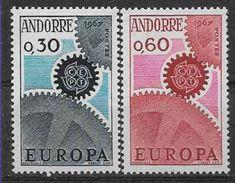 1967 ANDORRE Français 179-80** Europa, Dents Légèrement Courtes - French Andorra