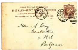 1888 BRITSE POST CARD AANKOMSTSTEMPEL HAL ZIE SCAN(S) - Bélgica