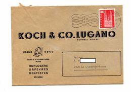 Lettre Flamme Muette Lugano Entete Monre Koch Theme Elephant - Marcophilie