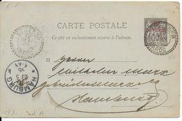 MAROC - 1895 - CARTE ENTIER TYPE SAGE De MOGADOR => HAMBURG - Marokko (1891-1956)