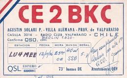 CE2BKC VALPARAISO CHILE CIRCA 1976 QSL CARD  RADIOAFICIONADOS/RADIO HAM TBE-BLEUP - Radio Amateur