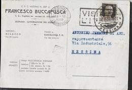 """ANNULLO A TARGHETTA """"VISITATE L'ITALIA """" 1939 UFF. MESSINA SU CARTOLINA POSTALE INTESTATA 28.02.1939 DA MILAZZO - 1900-44 Vittorio Emanuele III"""