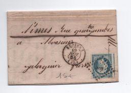 1854 - LETTRE De BEZIERS (HERAULT) Avec PC 389 Sur N° 14 (VOISIN) - 1849-1876: Periodo Clásico
