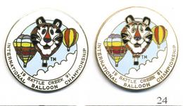 LOT 2 Pin's Montgolfières - International Balloon Championship 1991 à Battle Creek - 2 Versions. EGF. T560-24B - Airships