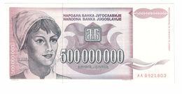 YUGOSLAVIA UNC 500000000 Dinara 1993 Pick 125 - Yugoslavia