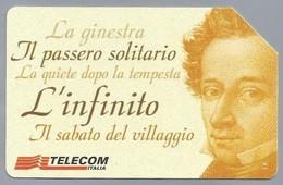 IT.- SCHEDA TELEFONICA. TELECOM ITALIA LIRE 10.000. 1798-1999. Giacomo Leopardi - Bicentenario Della Nascita.  2 Scans - Italië