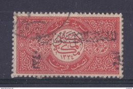 1916 SAUDI ARABIA  1/2Pi OPTD W/ HEJAZ KINGDOM HASHMEATE 1340 IN BLACK  USED - Saudi Arabia