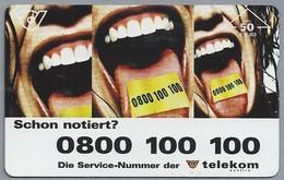 AT.- ÖSTERREICH. TELECOM AUSTRIA. Schon Notiert? 0800 100 100. . 2 Scans - Oostenrijk