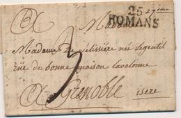 G504 - Courrier 1820 - De ROMANS à GRENOBLE - 1801-1848: Précurseurs XIX