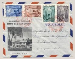 Suriname - 1954 - Jeugdwerk Zegels Op FDC Van Paramaribo Naar Willemstad / Curacao - Suriname ... - 1975