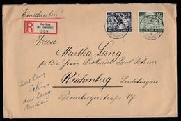 DR Einschreiben 1943 MIF 839 840 Harthau  Bz Chemnitz Nach Reichenberg Sudetengau Rückseitig Mit Vignette Gr2 - Briefe U. Dokumente