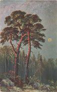 AK Unbekannt Wald Heide Kiefer Kiefernwald Bei Mondschein Clair De Lune Luna Moonlight Kunst Künstler Malerei 6995 - Künstlerkarten