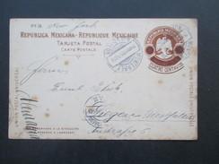Mexiko 1909 Ganzsache Mit Überdruck Cuatro Centavos Monterrey - Siegen Westfalen. Via New York. - Mexiko