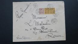 Lettre Recommandé A 90 Ct Bicolore Type Sage N° 67 Et Paire N° 93 De Fontaine Le Bourg Pour Rouen 1887 - Storia Postale