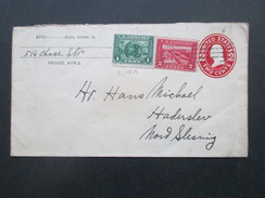 USA Ca. 1912 Ganzsachenumschlag Mit Zusatzfrankur Nr. 203 / 204 Panama Pacific Ausstellung. Osage Iowa- Nord Schleswig - Briefe U. Dokumente