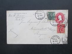 USA 1908 Ganzsachenumschlag Mit Zusatzfrankur Franklin / Washington Normal Okla - Münnerstadt. Route V. 4 Stempel - Briefe U. Dokumente