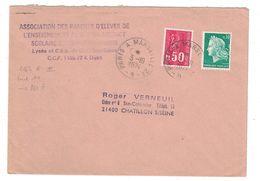 1974 - LETTRE Avec OBLITERATION CONVOYEUR AMBULANT De PARIS À MARSEILLE 2° (BRIGADE A) AFFR. 80c CHEFFER + BEQUET - Marcophilie (Lettres)