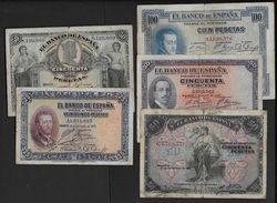 ESPAGNE - Lot De 5 Billets ( Voir Tous Les Scans ) - [ 1] …-1931 : Premiers Billets (Banco De España)