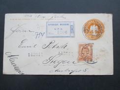 Mexiko 1909 Ganzsache Umschlag Mit Zusatzfrankatur. R-Brief. Republique Mexicane UPU Num. 1306 Nach Siegen! - Mexiko