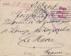 LETTRE FRANCHISE PRISONNIER DE GUERRE . 7.7.16. ALLEMAGNE AACHEN POUR CAMP DE LE HAVRE. 3 CACHETS DE CENSURE - Marcophilie (Lettres)