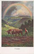 AK Unbekannt Frieden Landwirtschaft Ochsengespann Regenbogen Bayern Österreich Schwaben Schweiz ? Signiert No 1517 - Künstlerkarten