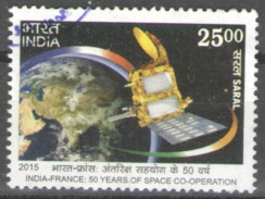 India Used 2015 The 50th Anniversary Of Space Co-Operation With France - Joint Issue With France - Inde