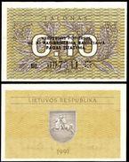 Lithuania 0.10 TALONAS 1991 P 29b UNC (Lituanie,Litauen,Litauen) - Lithuania