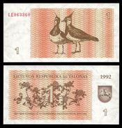 Lithuania 1 TALONAS 1992 P 39 UNC (Lituanie,Litauen,Litauen) - Lithuania