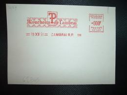 CARTE ESSAI EMA SC 1487 à 000F Du 19 XII 51 CAMBRAI RP (59) Mouchoirs De Cambrai - Marcofilie (Brieven)