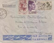 Lettre Par Avion Obl. 5/2/52 Papeete Tahiti Sur TP Océanie N° 188,193,197 Pour Sarrebourg - Cartas