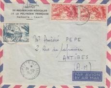Lettre à Entête Par Avion Obl. 21/12/57 Papeete Ile Tahiti Sur TP Océanie N° 198 X 2, 204 Pour Antibes - Polynésie Française