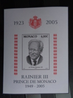 MONACO 2005 FEUILLET Y&T N° 91 ** - A LA MEMOIRE DE S.A.S RAINIER III - Neufs