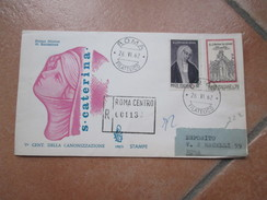 26.6.1962 S.Caterina Da Siena Busta VENETIA Raccomandata Viaggiata Arrivo Al Verso - 1961-70: Marcofilia