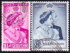SIERRA LEONE 1948 SG #203-04 Compl.set Used CV £30.15 Silver Wedding Very Small Thin On Top Stamp - Sierra Leone (...-1960)