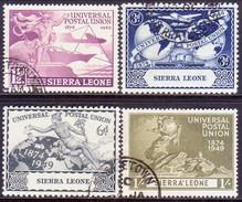 SIERRA LEONE 1949 SG #205-08 Compl.set Used CV £13 75th Anniv Of UPU - Sierra Leone (...-1960)