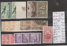TIMBRE DE L ITALIE PA * / ° EN PLAQUETTE LOT Nr  VOIR SUR PAPIER AVEC TIMBRES 1936-37-32  COTE 54.50€ - 1946-.. République
