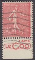 FRANCE Francia Frankreich - 1926 - Yvert 199c Con Banda Pubblicitaria, Obliterato, 50 Cent, Rosso, Semeuse A Righe. - 1903-60 Semeuse A Righe