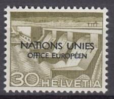 SCHWEIZ  Europäisches Amt Der Vereinten Nationen (ONU/UNO) 6 V, Postfrisch **, 1950 - Dienstpost