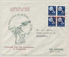 Suriname - 1954 - Herdenking Landing Charles Lindbergh In Suriname In Blok Van 4 Op FDC - Suriname ... - 1975