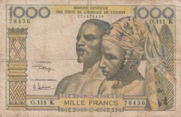 West African States #703Kk (Senegal) 1,000 Francs 1959-1965 Banknote Money Currency - West African States