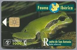 ES.- Telefonica De Espana. CabiTel. Ranita De San Antonio. Hyla Arborea. Boomkikker. Fauna Iberica. 2 Scans - Telefoonkaarten