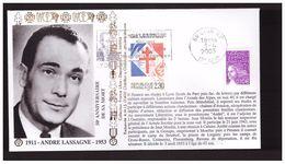 Lettre Enveloppe Résistance Résistant Hommage à André Lassagne 2003 Collection France Libre - Guerre Mondiale (Seconde)