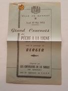 Programme Du Grand Concours De Pêche à La Ligne De Gannat - 1955 - Médaille - Les Chevaliers De La Sioule - Programmes